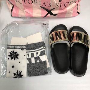 Victorias Secret Pink Gold Slides & Socks Gift Set